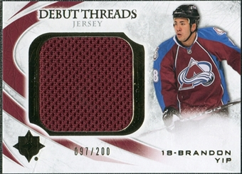 2010/11 Upper Deck Ultimate Collection Debut Threads #DTBY Brandon Yip /200