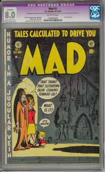 Mad #1 CGC 8.0 Slight / Moderate (B-2) Restoration (OW) *1290445004*