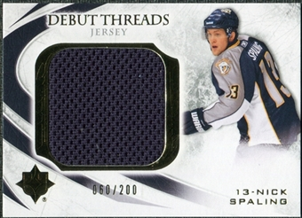 2010/11 Upper Deck Ultimate Collection Debut Threads #DTNS Nick Spaling /200