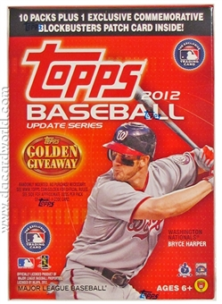 2012 Topps Update Baseball 10-Pack Box (PLUS 1 Commemorative Patch)