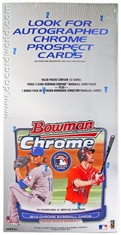 2012 Bowman Chrome Baseball Jumbo Rack Box (18 Packs)