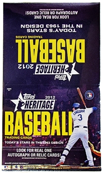 2012 Topps Heritage Baseball Rack Pack Box (18 Packs)