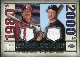 2008 Upper Deck SP Legendary Cuts Generations Dual Memorabilia #SB Mike Schmidt Ryan Braun
