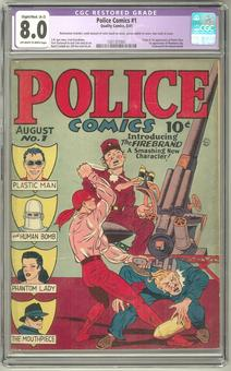 Police Comics #1 CGC 8.0 (OW-W) *1301357001* Restored Color Touch