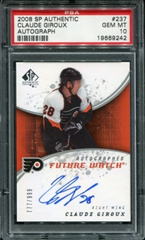 2008/09 Upper Deck SP Authentic #237 Claude Giroux Auto RC PSA 10 Gem Mint
