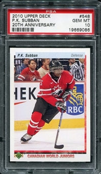 2010/11 Upper Deck 20th Anniversary Variation #548 P.K. Subban CWJ RC PSA 10 Gem Mint
