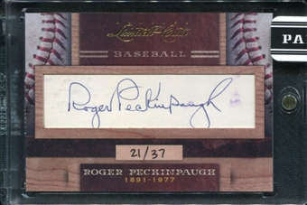 2011 Panini Donruss Limited Cuts 4 #280 Roger Peckinpaugh Autograph /37 d.1977