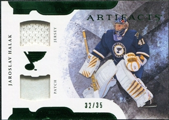 2011/12 Upper Deck Artifacts Horizontal Jerseys Patches Emerald #41 Jaroslav Halak 32/35