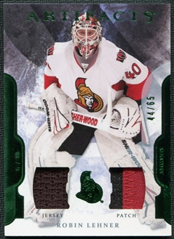 2011/12 Upper Deck Artifacts Jerseys Patch Emerald #97 Robin Lehner 44/65