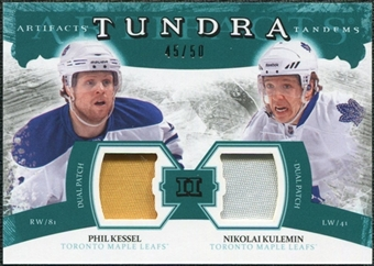 2011/12 Upper Deck Artifacts Tundra Tandems Patches Emerald #TT2KK Phil Kessel / Nikolai Kulemin /50