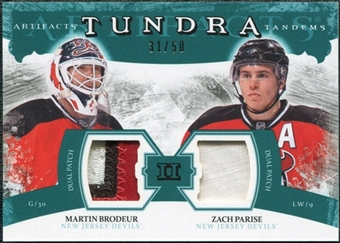 2011/12 Upper Deck Artifacts Tundra Tandems Patches Emerald #TT2MZ Martin Brodeur / Zach Parise /50