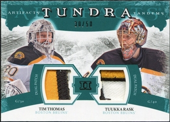 2011/12 Upper Deck Artifacts Tundra Tandems Patches Emerald #TT2TR Tim Thomas / Tuukka Rask /50