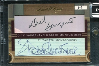 2011 Panini Donruss Limited Cuts Dual Cut Signatures #2 Dick Sargent Elizabeth Montgomery Auto 1/1