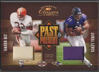 2005 Donruss Classics #6 Jim Brown & Jamal Lewis Past and Present Prime Patch #01/10