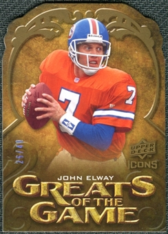 2009 Upper Deck Icons Greats of the Game Die Cut #GGJE John Elway /40