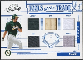 2005 Absolute Memorabilia #93 Jason Giambi Tools of the Trade Swatch Five Jersey Bat Cap #02/10