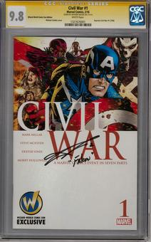 Civil War #1 Wizard World Variant CGC 9.8 (W) Signature Series Anthony Mackie *1327676001*