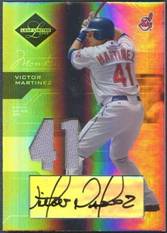 2005 Leaf Limited #144 Victor Martinez Monikers Material Silver Jersey Auto #42/75