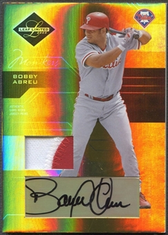 2005 Leaf Limited #117 Bobby Abreu Monikers Material Gold Patch Auto #045/100