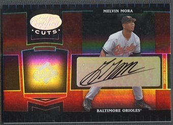 2004 Leaf Certified Cuts #21 Melvin Mora Marble Signature Red Auto #077/100