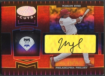 2004 Leaf Certified Cuts #146 Marlon Byrd Marble Signature Red Auto #076/100