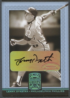 2005 Donruss Greats #52 Lenny Dykstra Signature Gold HoloFoil Auto
