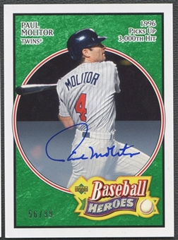 2005 Upper Deck Baseball Heroes #52 Paul Molitor Signature Emerald Auto #56/99