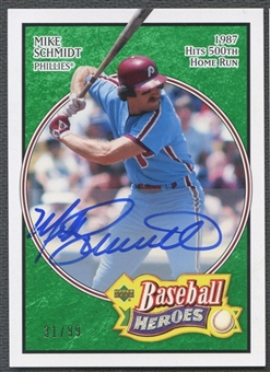 2005 Upper Deck Baseball Heroes #43 Mike Schmidt Signature Emerald Auto #31/99