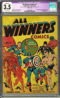 All Winners Comics #1 CGC 3.5 Slight (C-1) Restoration (OW) *1332850005*