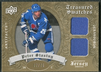 2008/09 Upper Deck Artifacts Treasured Swatches Dual Gold #TSDST Peter Stastny /75