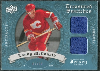 2008/09 Upper Deck Artifacts Treasured Swatches Dual Blue #TSDLM Lanny McDonald /50