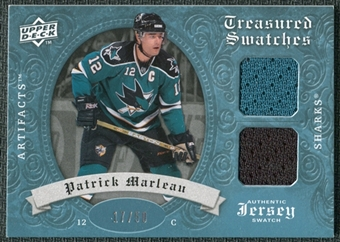 2008/09 Upper Deck Artifacts Treasured Swatches Dual Blue #TSDPM Patrick Marleau /50