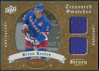 2008/09 Upper Deck Artifacts Treasured Swatches Dual #TSDBL Brian Leetch /199
