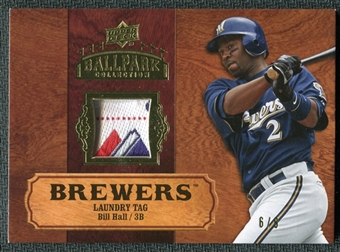 2008 Upper Deck Ballpark Collection Jersey Laundry Tag #13 Bill Hall /8