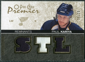 2007/08 Upper Deck OPC Premier Remnants Triples Patches #PRPK Paul Kariya 15/20