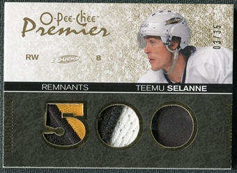 2007/08 Upper Deck OPC Premier Remnants Triples Patches #PRTS Teemu Selanne /35