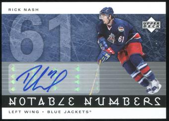 2005/06 Upper Deck Notable Numbers #NRN Rick Nash Autograph 50/61