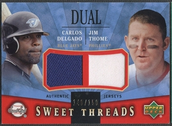 2004 Sweet Spot #DT Carlos Delgado Jim Thome Sweet Threads Dual Jersey #140/150