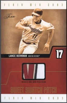 2003 Flair #LBSSPE Lance Berkman Sweet Swatch Jumbo Patch #252/287