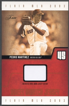 2003 Flair #PMSSJ Pedro Martinez Sweet Swatch Jumbo Jersey #002/150