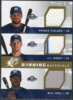 2009 Upper Deck SPx Winning Materials Triple #FJH Prince Fielder J.J. Hardy Bill Hall
