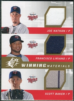 2009 Upper Deck SPx Winning Materials Triple #NLB Joe Nathan/Francisco Liriano/Scott Baker