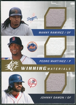 2009 Upper Deck SPx Winning Materials Triple #RMD Manny Ramirez Pedro Martinez Johnny Damon