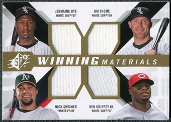 2009 Upper Deck SPx Winning Materials Quad #DTGS Jermaine Dye/Jim Thome/Ken Griffey Jr./Nick Swisher