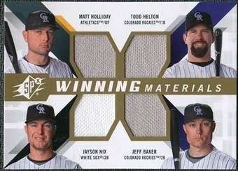 2009 Upper Deck SPx Winning Materials Quad #HHBN Matt Holliday/Todd Helton/Jeff Baker/Jayson Nix
