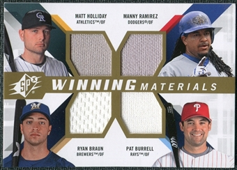 2009 Upper Deck SPx Winning Materials Quad #HRBB Matt Holliday Manny Ramirez Pat Burrell Ryan Braun