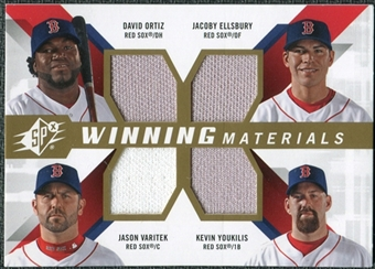 2009 Upper Deck SPx Winning Materials Quad #OEYV David Ortiz/Jacoby Ellsbury/Kevin Youkilis/Jason Varitek
