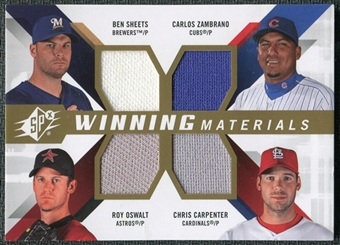 2009 Upper Deck SPx Winning Materials Quad #SZCO Ben Sheets Carlos Zambrano Chris Carpenter Roy Oswalt
