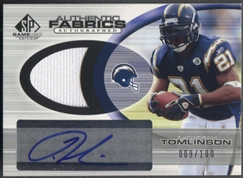 2004 SP Game Used Edition #LT LaDainian Tomlinson Authentic Fabric Jersey Auto #009/100
