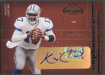 2002 Playoff Contenders #SC9 Quincy Carter Sophomore Contenders Auto #277/300